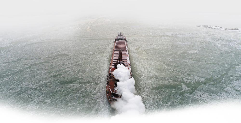 graphic image of cargo ship on great lakes